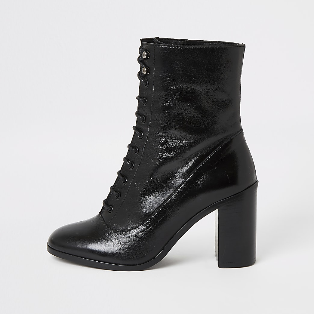 Black leather lace-up block heel boots