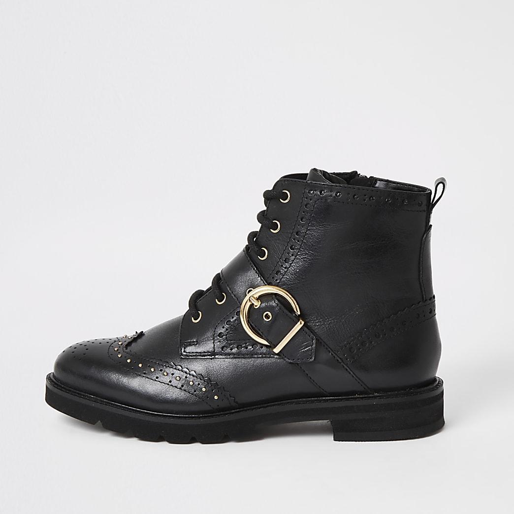 Schwarze Brogue-Stiefel zum Schnüren aus Leder