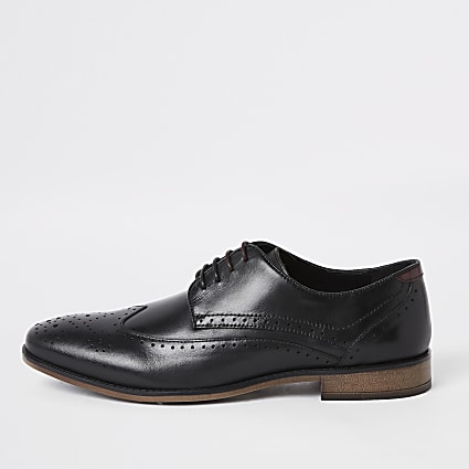 Black leather lace-up brogues
