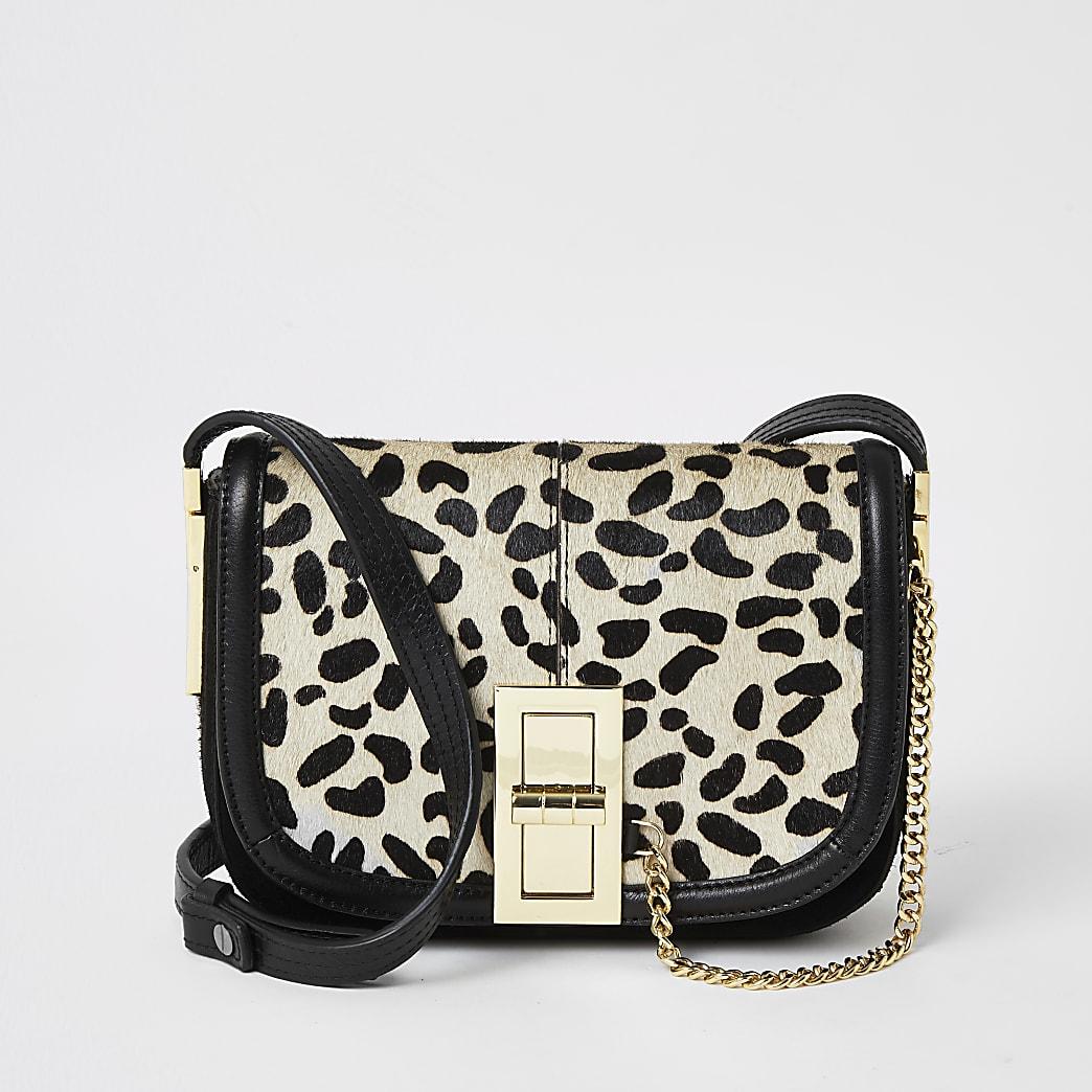 Black leather leopard print  cross body bag