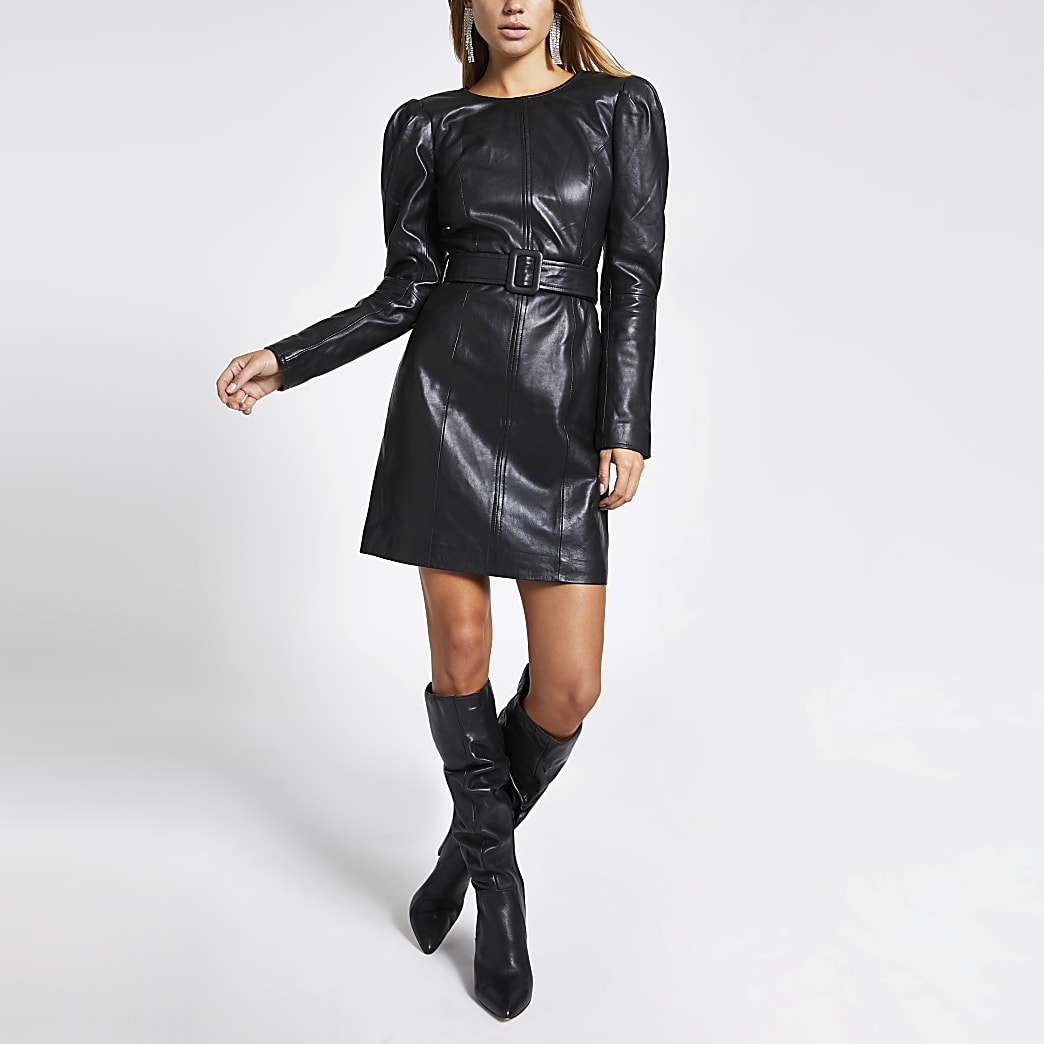Black leather long puff sleeve mini dress