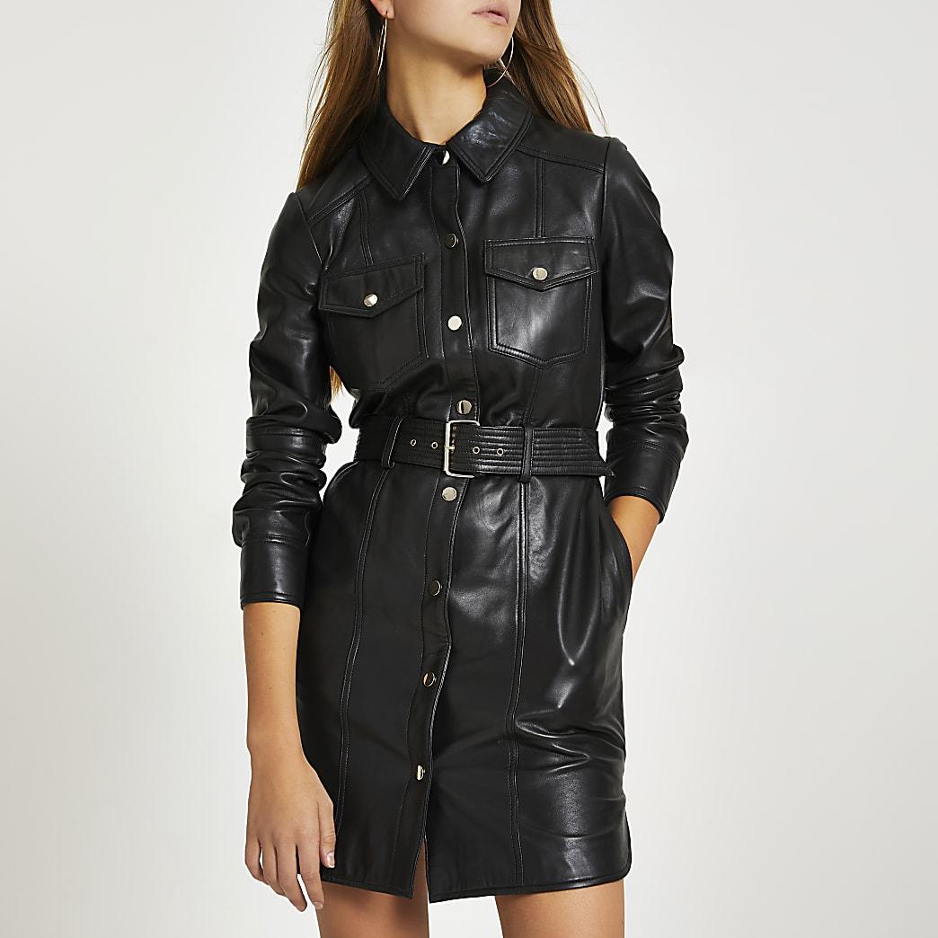 Robe chemise en cuir noirà manches longues
