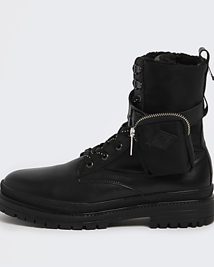 Black leather military boots with pouch