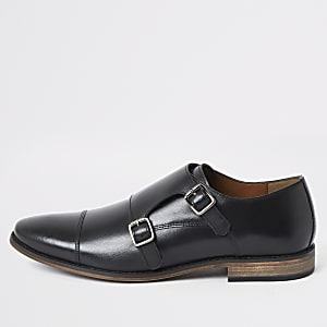 Black leather monk strap derby shoes