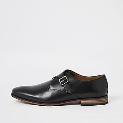 Black leather monk strap shoes