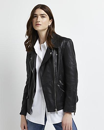 Black leather oversized biker jacket