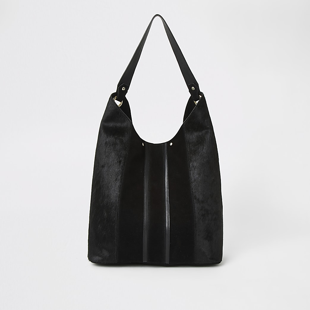 Black leather panel slouch bag