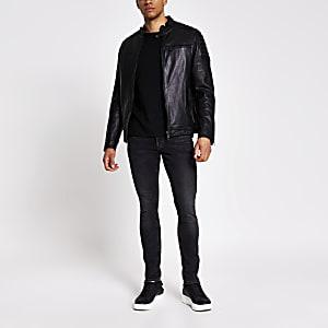 Schwarze, gesteppte Racer-Jacke aus Leder