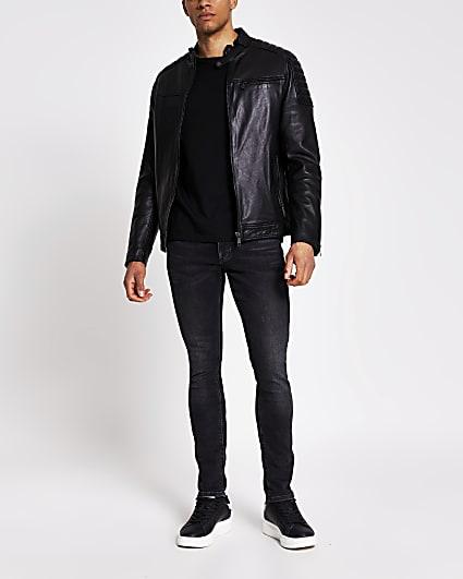 Black leather racer jacket