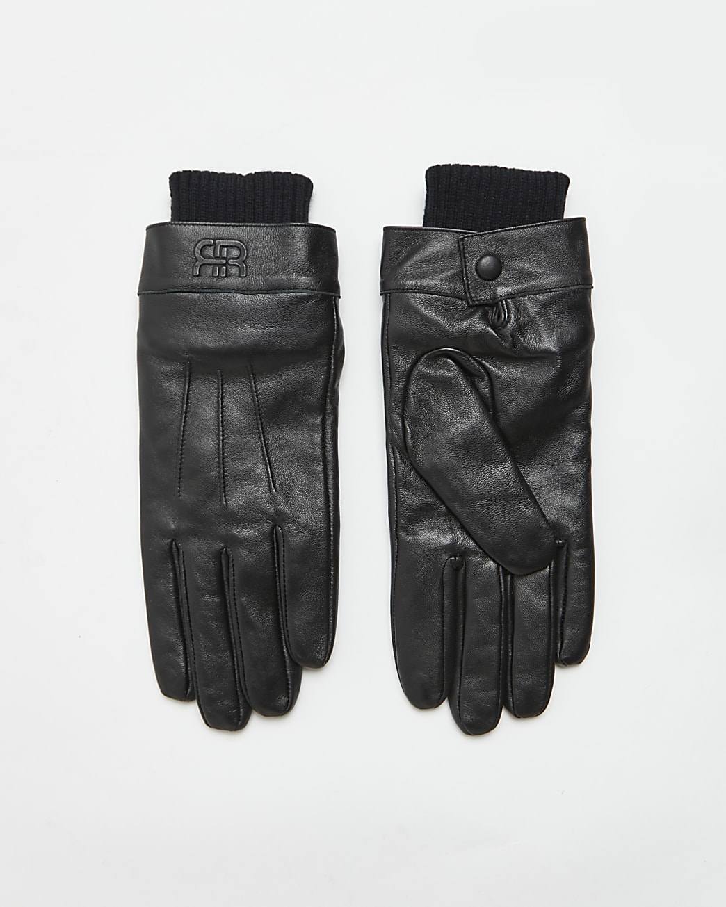 Black leather RI branded gloves