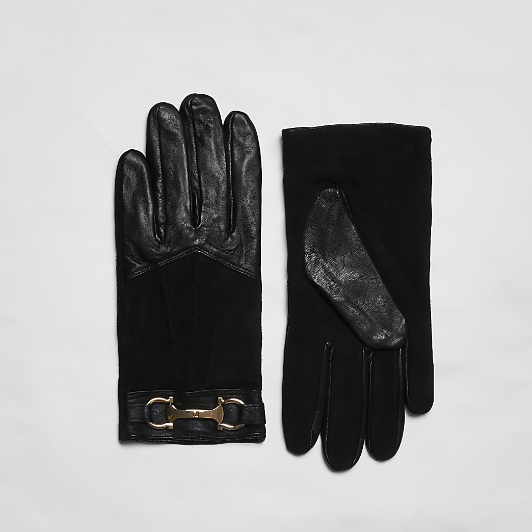 Black leather RI gloves