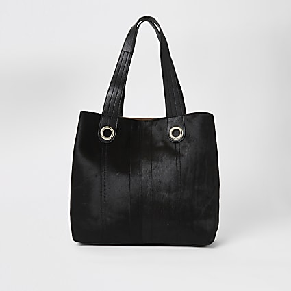 Black leather slouch shopper bag