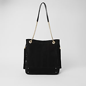 Zwarte leren ruime tas met stiksels voor