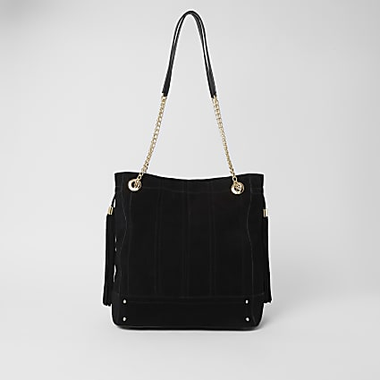 Black leather stitch front slouch bag