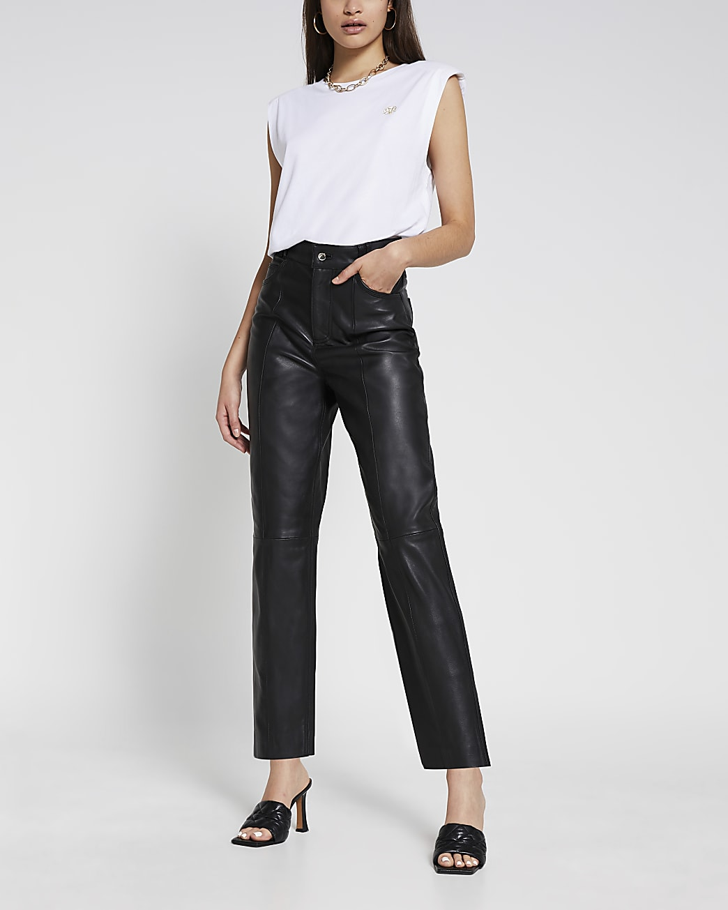 Black leather straight trousers