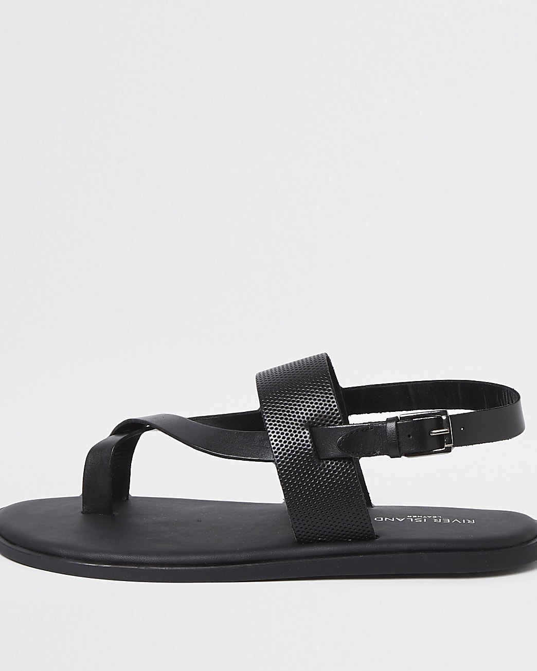 Black leather strap sandal