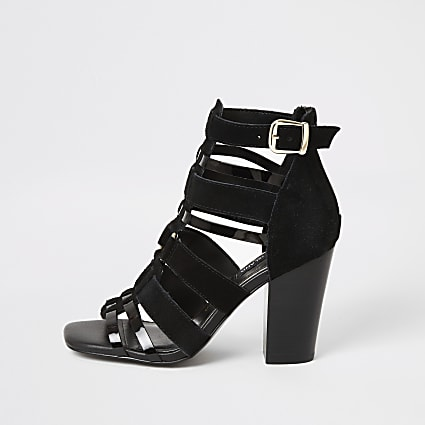Black leather strappy heeled sandals
