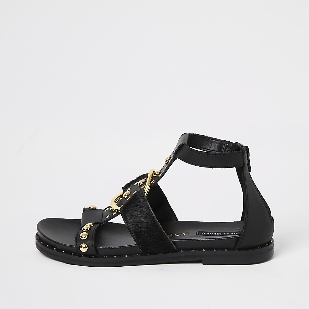 Black leather studded ankle gladiator sandals