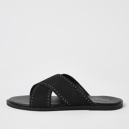 Black leather studded cross strap sandals