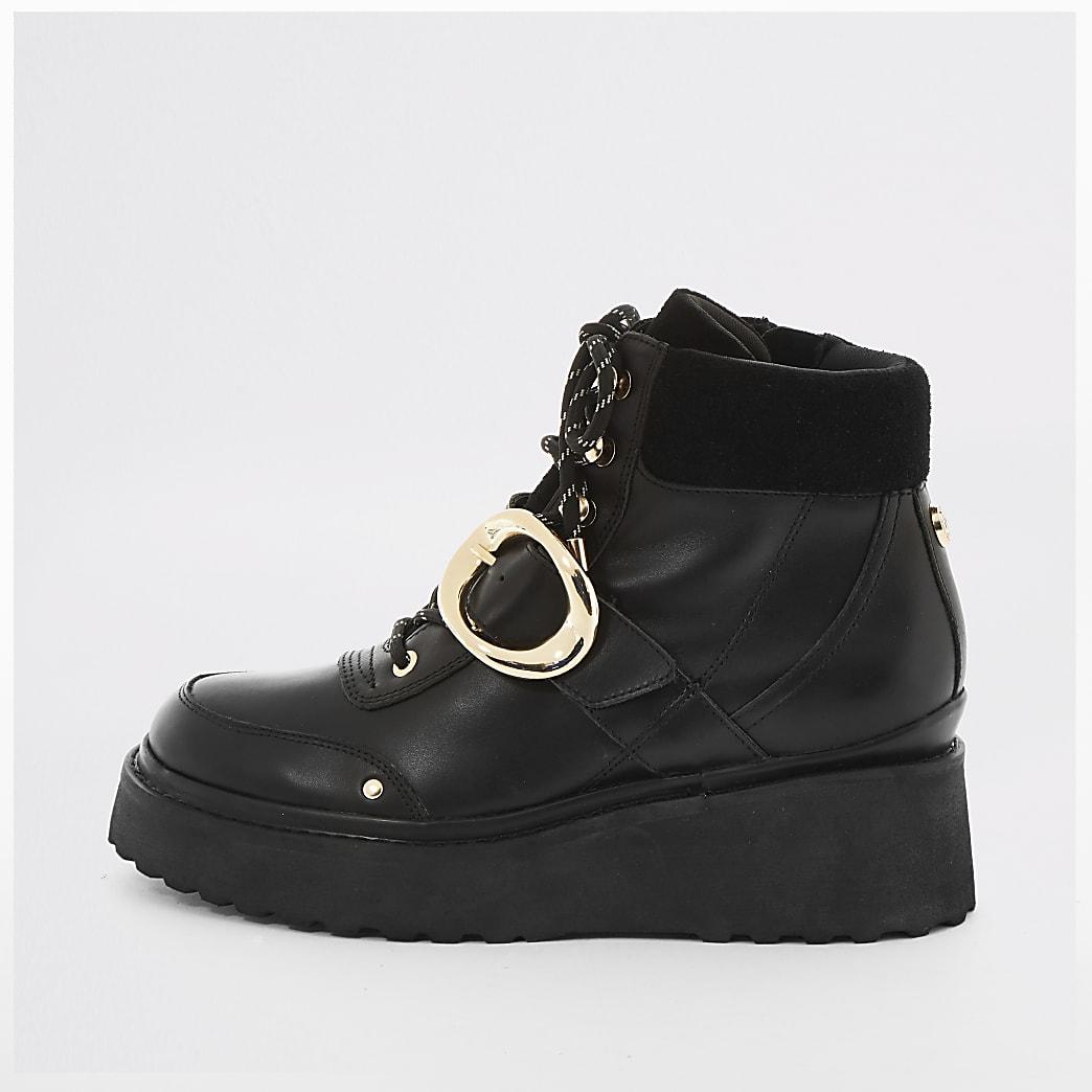 Black leather studded flatform hiking boots