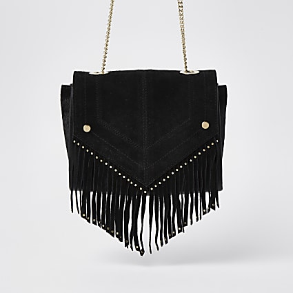 Black leather studded fringe detail handbag
