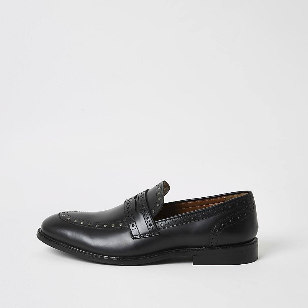 Zwarte leren loafers met studs
