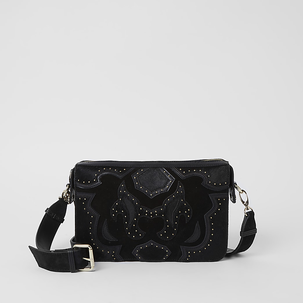 Black leather studded western cross body bag
