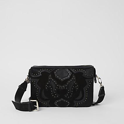 Black leather studded western crossbody bag