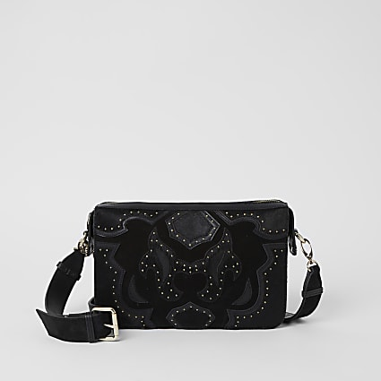 Black leather studded western Xbody handbag