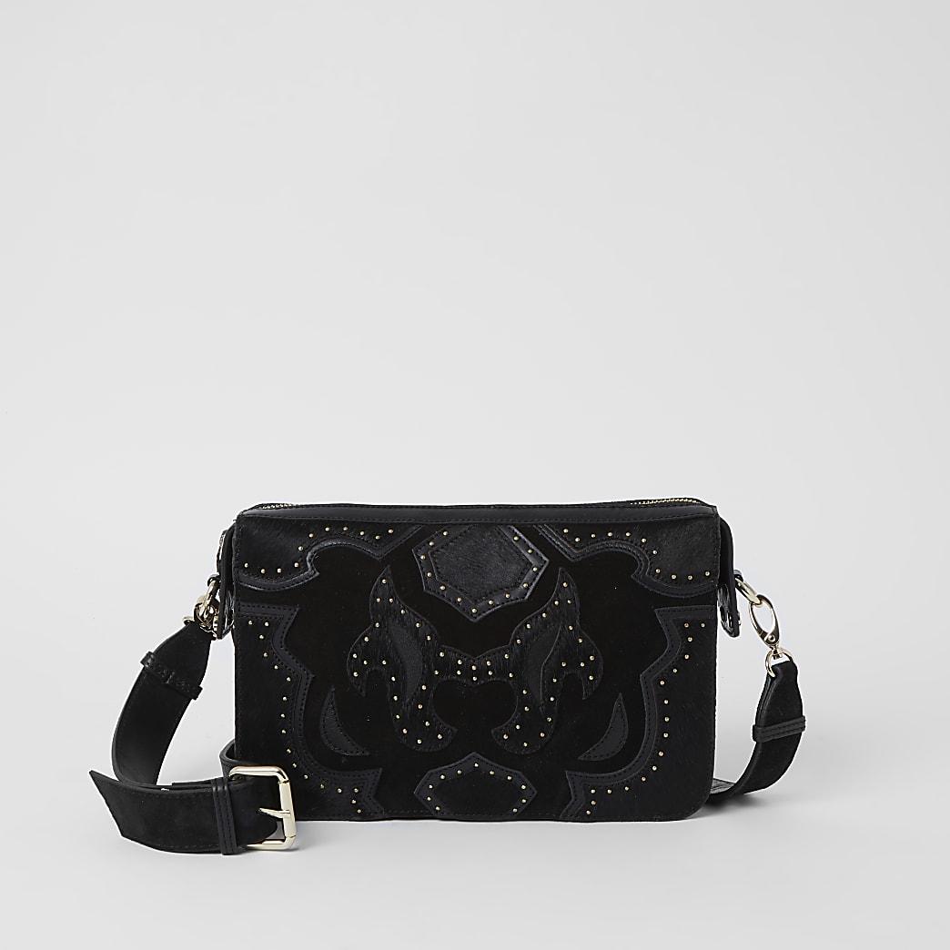 Black leather studded western Xbody handbag
