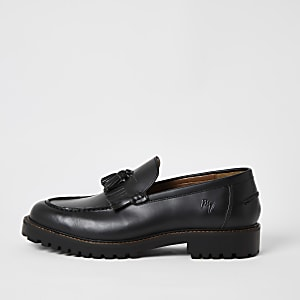 Black leather tassel fringe chunky loafers