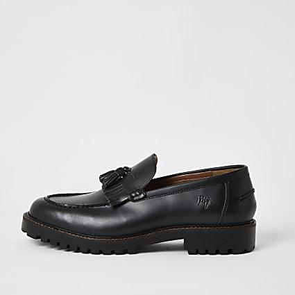 Black leather tassel fringe chunky loafers