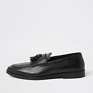 Black leather tassel fringe loafers
