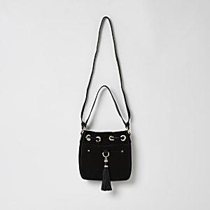 Mini sac polochon avec pampilles en cuir noir