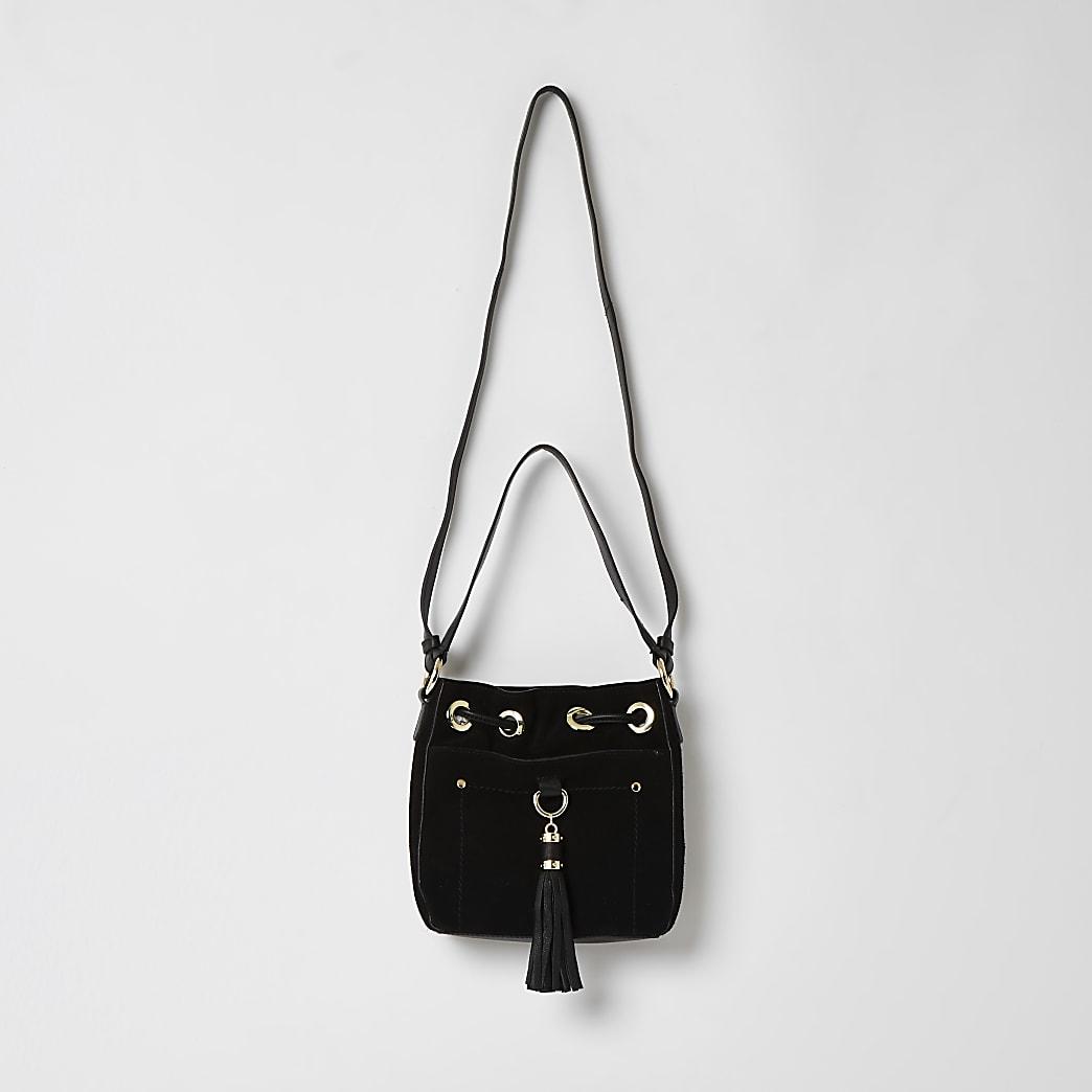 Schwarze Duffle-Tasche aus Leder in Minigröße mit Quaste