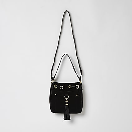 Black leather tassel mini duffle handbag