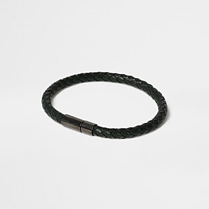Black leather textured bracelet