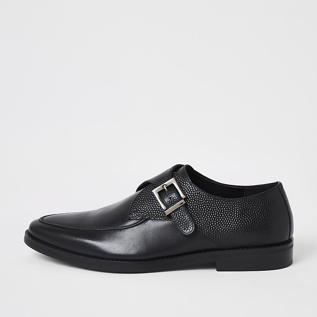 Black leather textured monk strap shoes