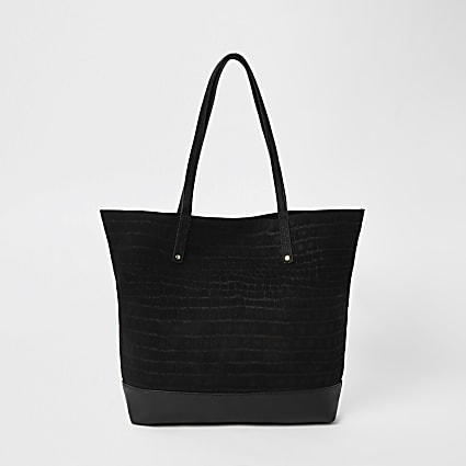 Black leather tote shopper handbag