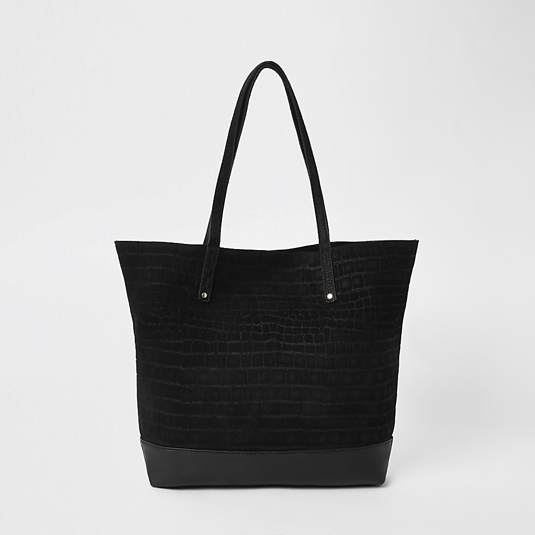 Black leather tote shopper handbag