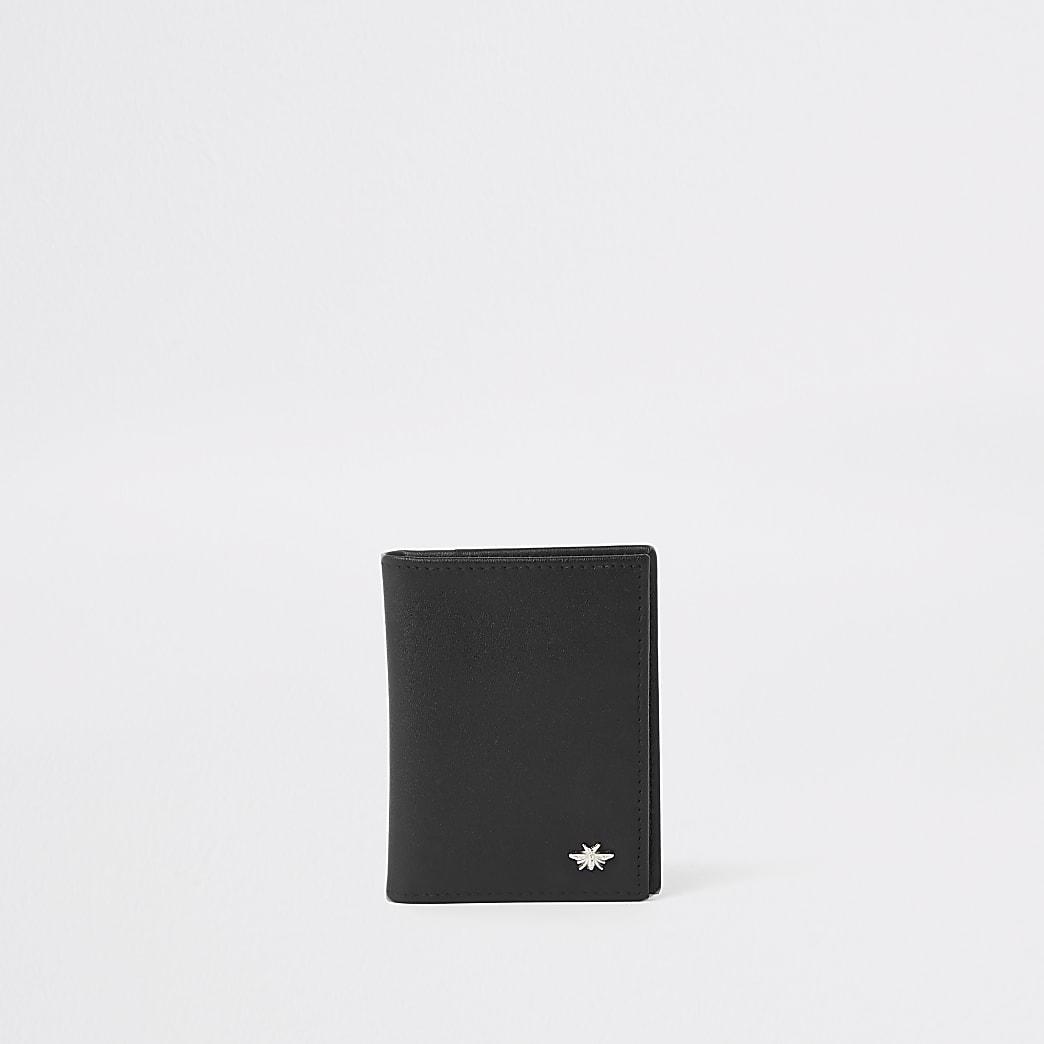 Porte-cartes en cuir noir motif guêpe à rabat