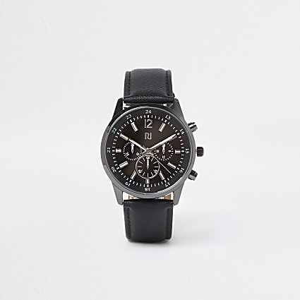 Black leather watch