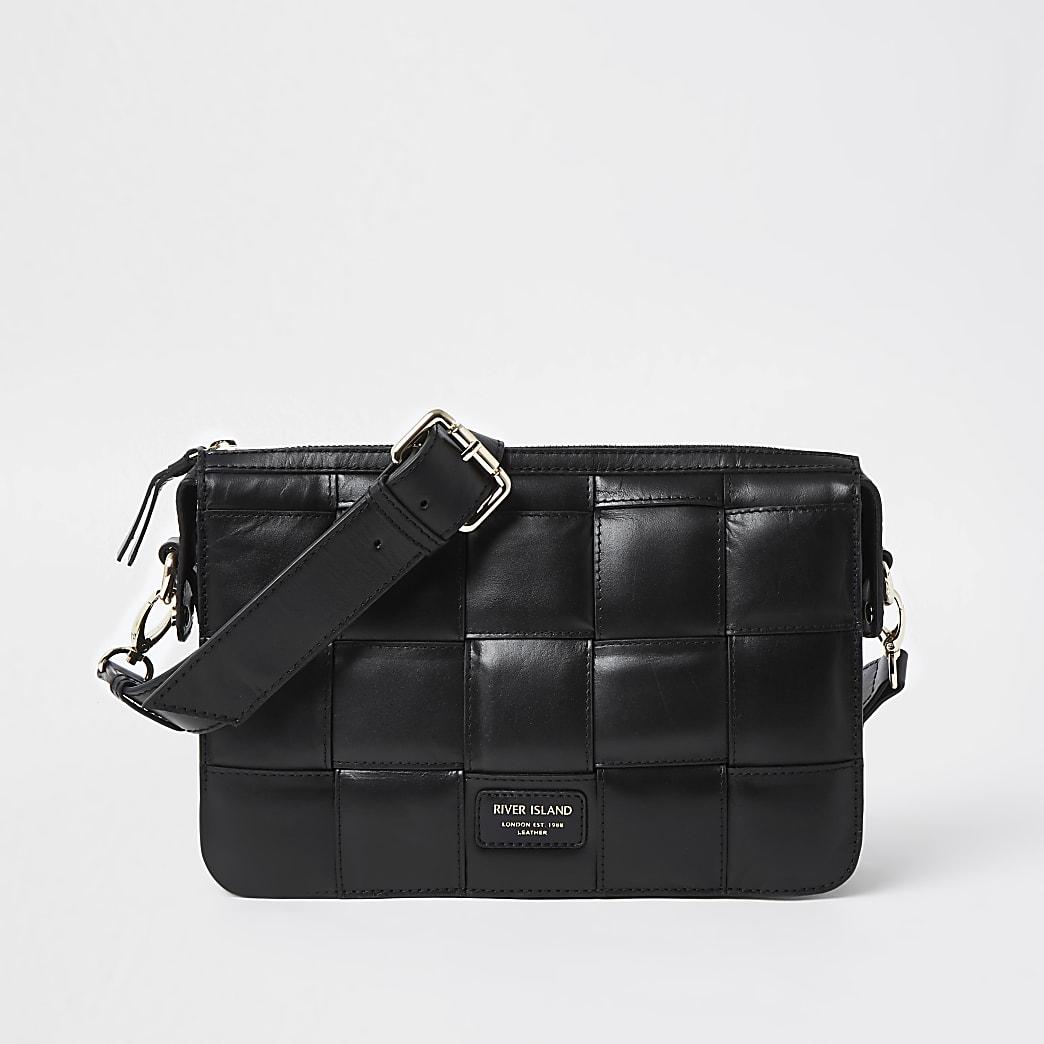 Black leather weave cross body handbag
