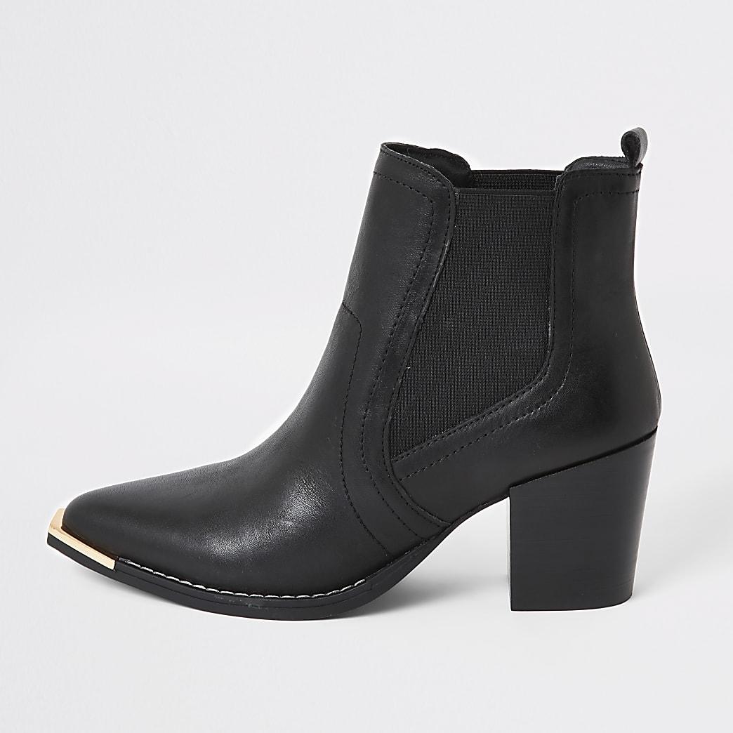 Schwarze Chelsea-Stiefel aus Leder im Western-Look