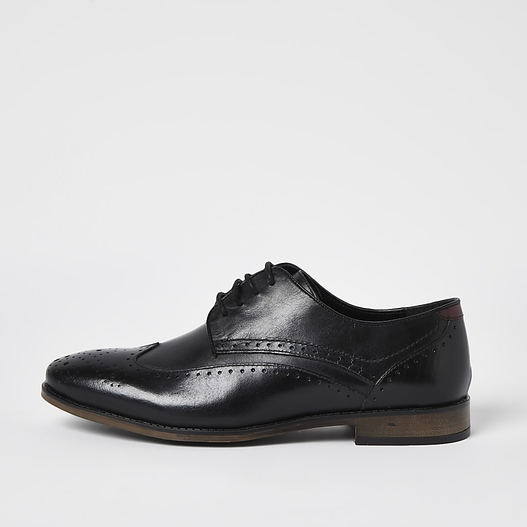 Black leather wide fit brogue shoes