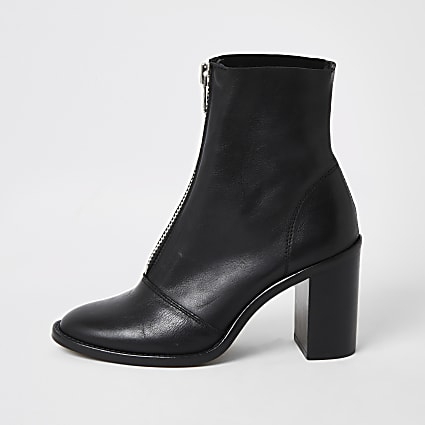 Black leather zip front heeled ankle boots