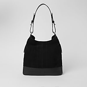 Black leather zip side slouch bag