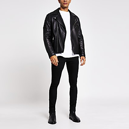 Black leatherbiker jacket