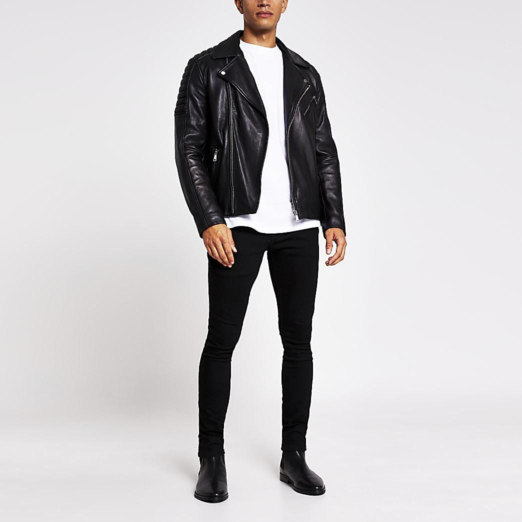 Black leatherbiker jacket