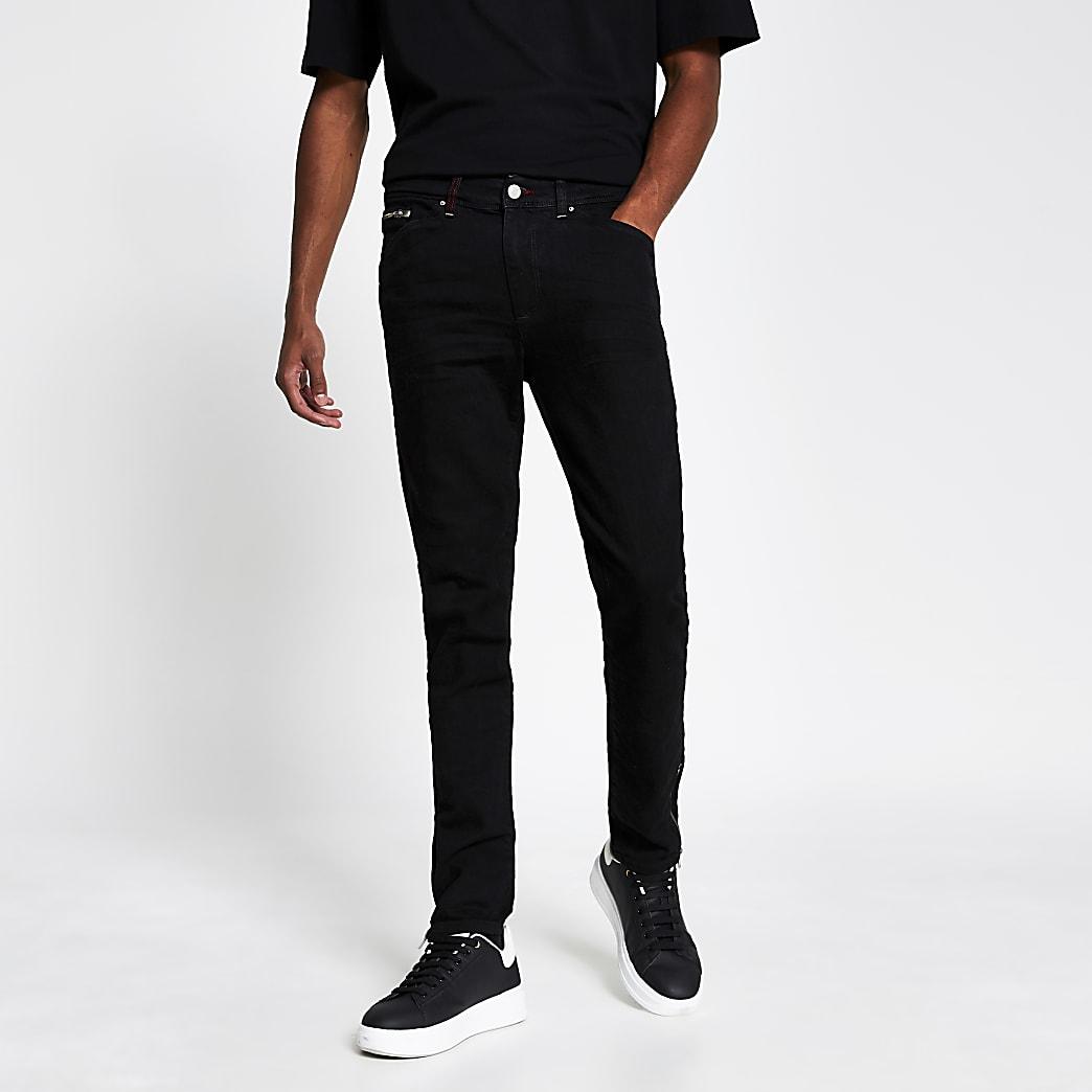 Black leg zip skinny jeans